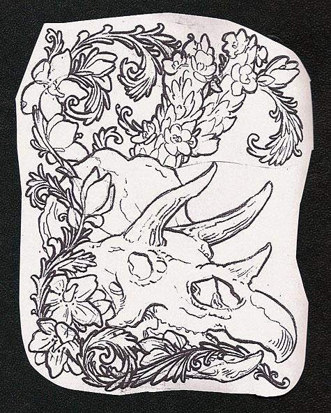 Mike Bellamy's triceratops skull tattoo design