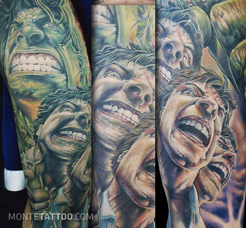 Cartoon Tattoo of Incredible Hulk Picture on Foot
